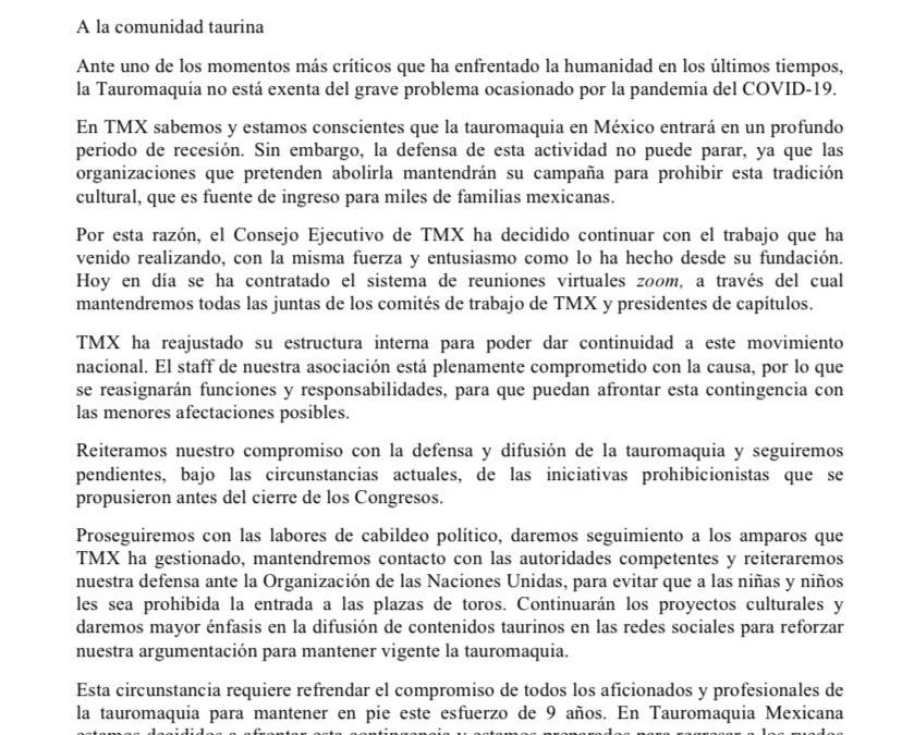 TMX. Mensaje Contingencia Sanitaria
