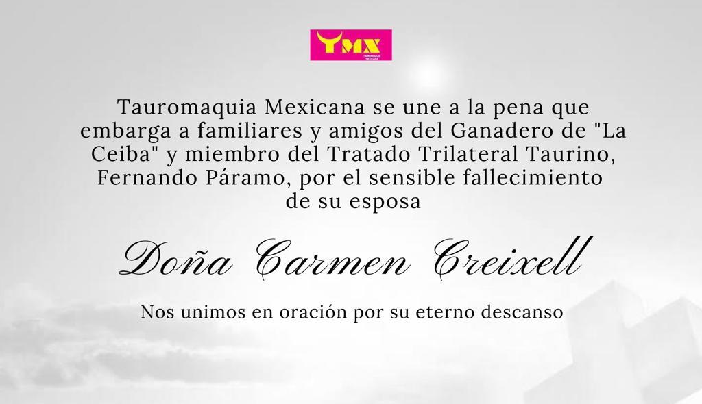 """Tauromaquia Mexicana se une a la pena que embarga al Ganadero de """"La Ceiba"""" por el sensible fallecimiento de su esposa"""
