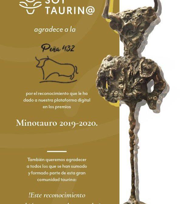 SoyTaurin@ agradece a la Peña 432 por el reconocimiento que le ha dado a la plataforma en los premios Minotauro 2019-2020