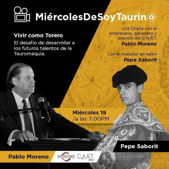 """19 mayo 7:00pm CDMX🔸Soy Taurino te invita a la plática """"Vivir como Torero"""" El desafío de desarrollar a los futuros talentos de la Tauromaquia #MiercolesDeSoyTaurinoTv"""